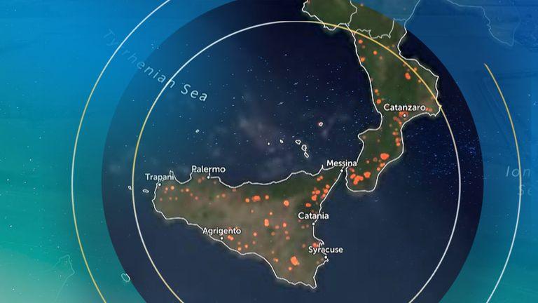 Sicily is the epicentre of Europe's record-breaking temperature. Pic: Zoom Earth using NOAA GOES/EUMETSAT Meteosat/JMA Himawari-8 satellites
