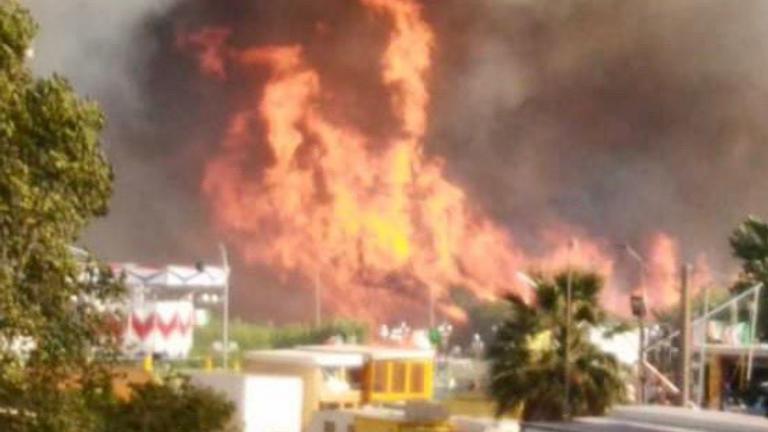 A wildfire has forced evacuations in Campomarino Lido, Molise, Italy. Pic: Vigili del Fuoco