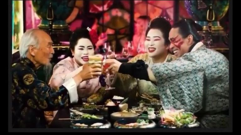 The advert showed two women dressed as geishas