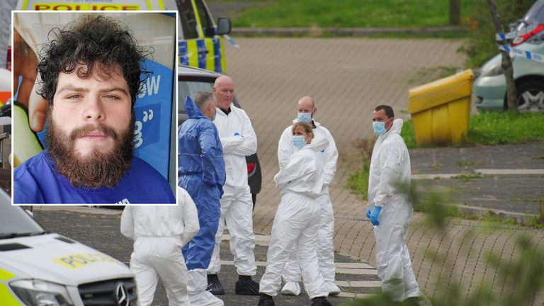 Police and forensics officers remain at the scene in Plymouth where gunman Jake Davison (inset) killed five people