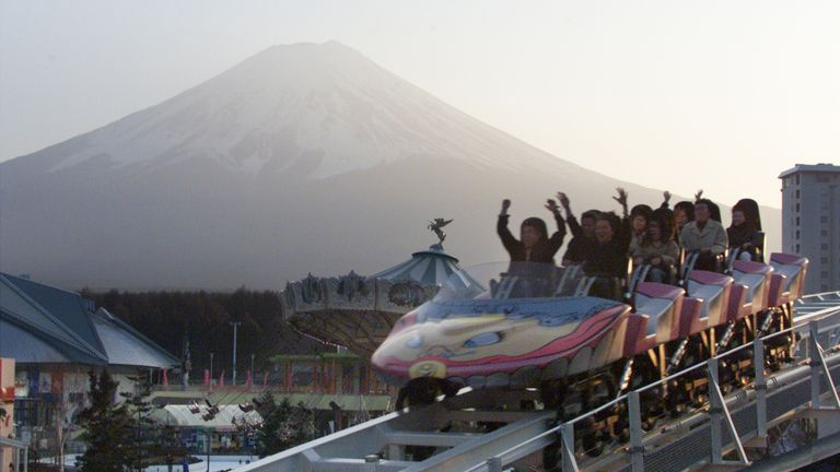 The amusement park sits at the base of Mount Fuji