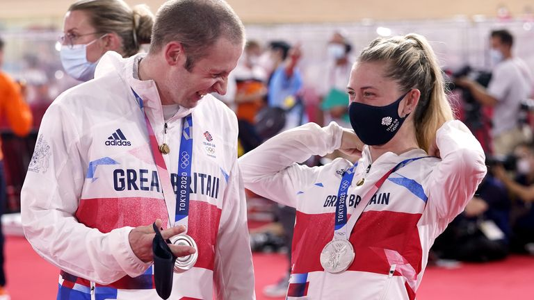 Great Britain's Laura Kenny and Jason Kenny with their silver medals for the Women's Team Pursuit and Mens Team Sprint during the Track Cycling at the Izu Velodrome on the eleventh day of the Tokyo 2020 Olympic Games in Japan. Picture date: Tuesday August 3, 2021.