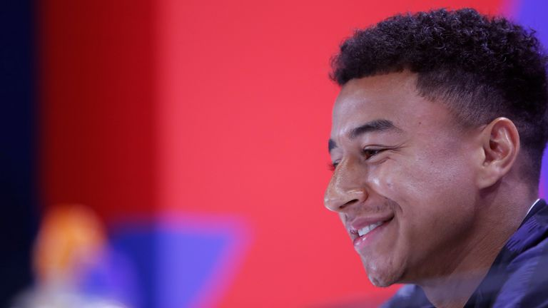 England's Jesse Lingard speaks at a press conference in the England media centre at the 2018 soccer World Cup, in Repino, near St Petersburg, Russia, Sunday, July 1, 2018. (AP Photo/Alastair Grant)