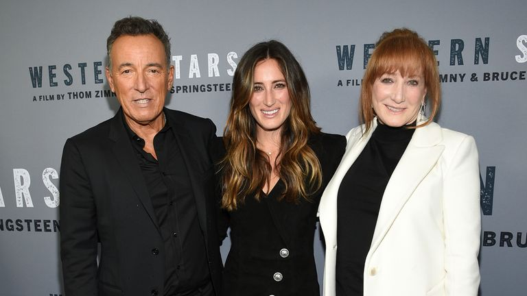 Jessica Springsteen with her parents Bruce and his wife Patti Scialfa Pic: AP