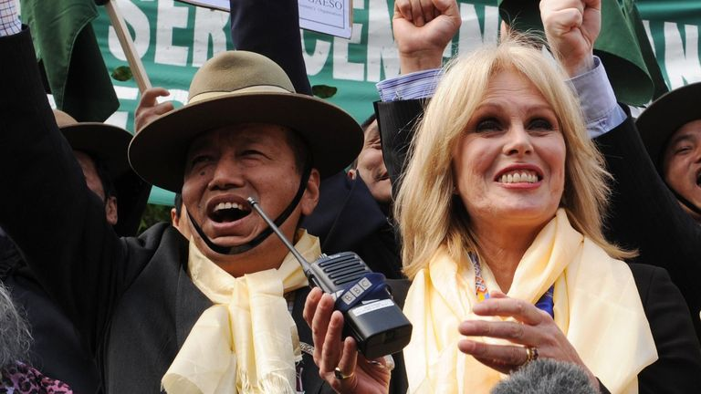 Campaigner Joanna Lumley celebrates outside the House of Commons after it was announced that the Nepalese soldiers would gain full UK residency rights