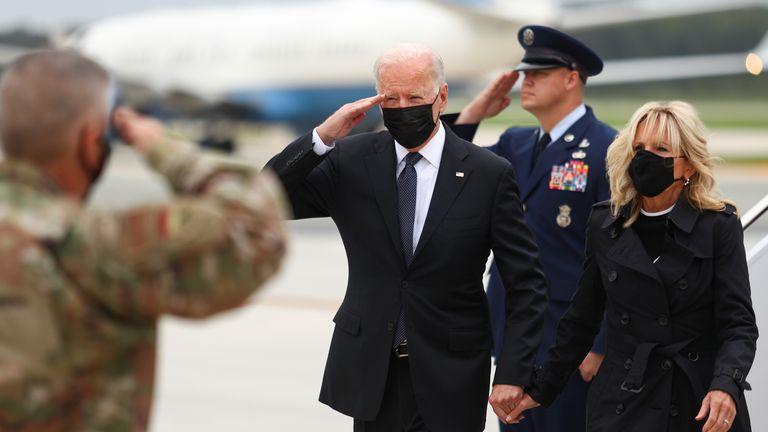 U.S. President Joe Biden and first lady Jill Biden arrive at Dover Air Force Base in Dover, Delaware, U.S., August 29, 2021. REUTERS/Tom Brenner
