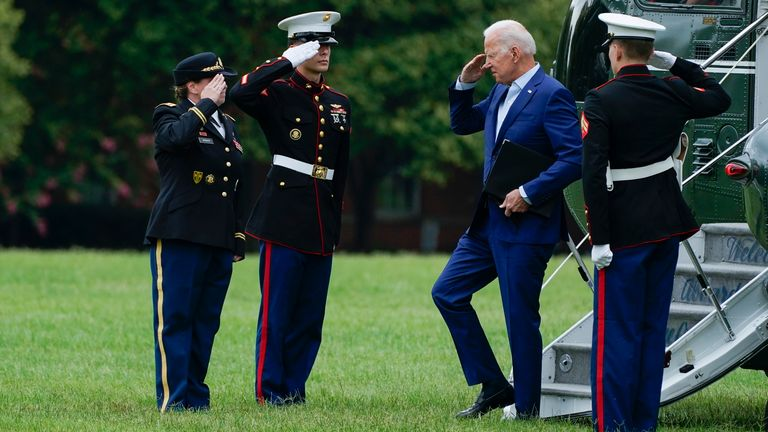 President Joe Biden returns to the White House. Pic: Ap