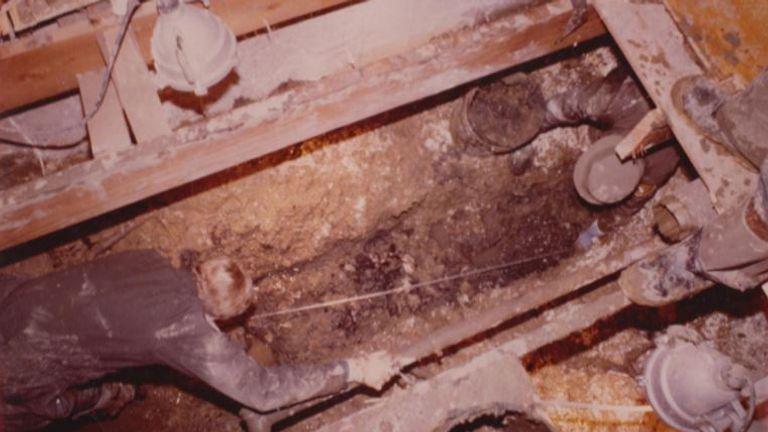 The crawlspace inside John Wayne Gacy's home. Pic: Cineflix