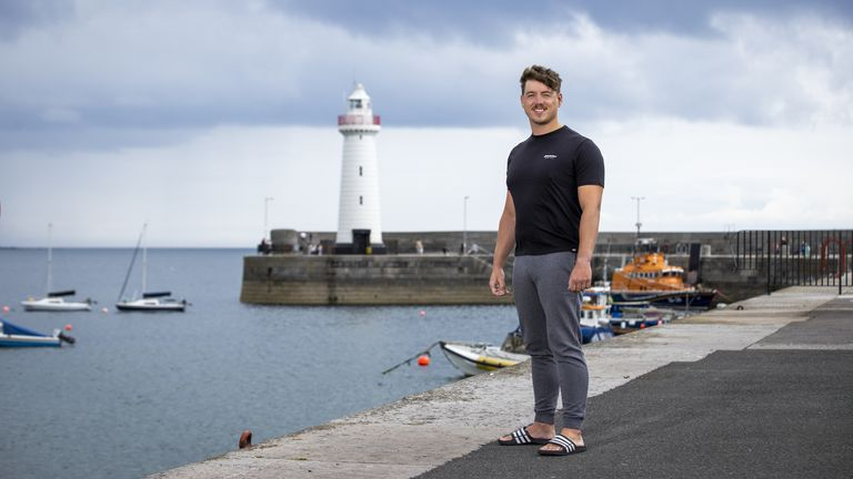 Jordan Leckey at Donaghadee Harbour, close to where he set off on Monday before a new world record time for swimming from Northern Ireland to Scotland. Picture date: Tuesday August 3, 2021.