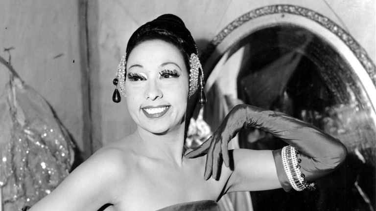 Singer Josephine Baker poses in her dressing room at the Strand Theater in New York City on March 6, 1961. Pic: AP