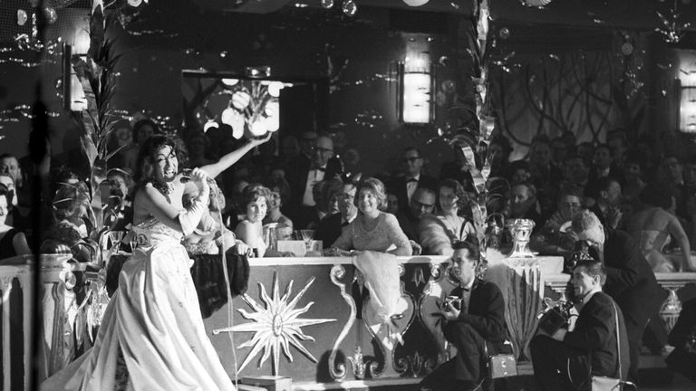 Singer Josephine Baker performs at the Madame-Ball, the first big event at the beginning of the ball season in 1963. Pic: AP
