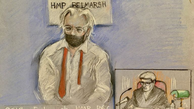 Assange appeared at the appeal hearing via videolink from HMP Belmarsh