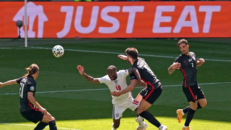 England's Raheem Sterling is tackled by Croatia's Duje Caleta-Car during the UEFA Euro 2020 Group D match at Wembley Stadium, London. Picture date: Sunday June 13, 2021.