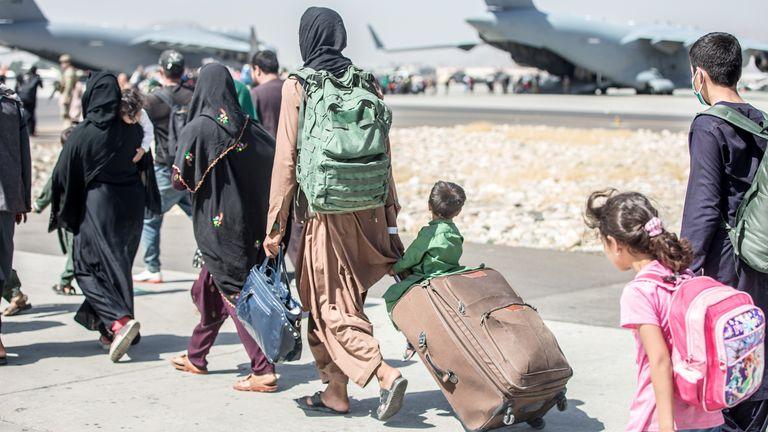 Evacuation at Hamid Karzai International Airport, Kabul, Afghanistan. Pic: Sgt. Samuel Ruiz/U.S. Marine Corps/Reuters