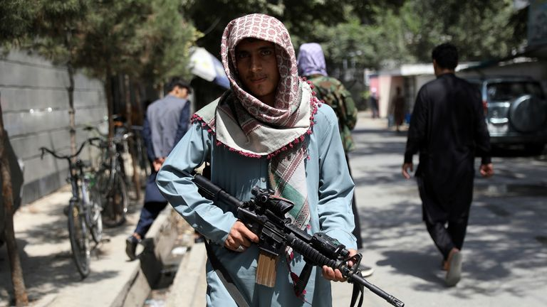 Taliban fighters stand guard at a checkpoint in the Wazir Akbar Khan neighborhood in the city of Kabul. Pic: AP