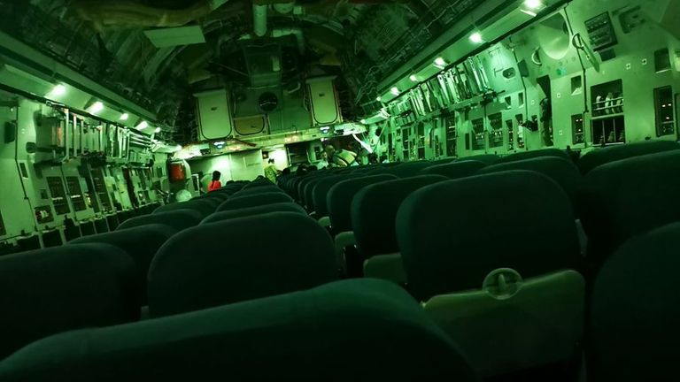 Paul 'Pen' Farthing posted this picture on Twitter of his wife's empty evacuation flight from Kabul Pic: Twitter/@PenFarthing