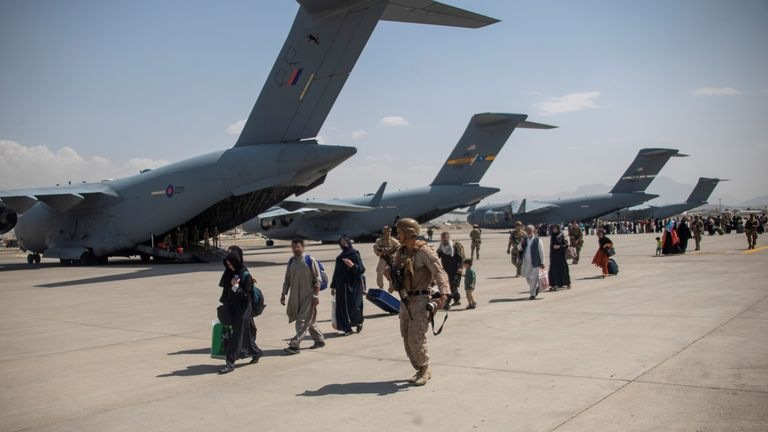 Members of the UK Armed Forces continue to take part in the evacuation of entitled personnel from Kabul airport, in Kabul, Afghanistan August 19-22. LPhot Ben Shread/UK MOD Crown copyright