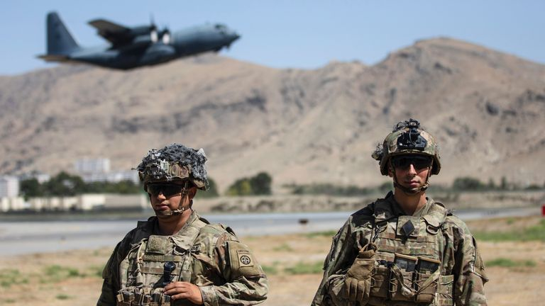 Two paratroopers assigned to the 1st Brigade Combat Team, 82nd Airborne Division conduct security at Kabul airport Pic AP