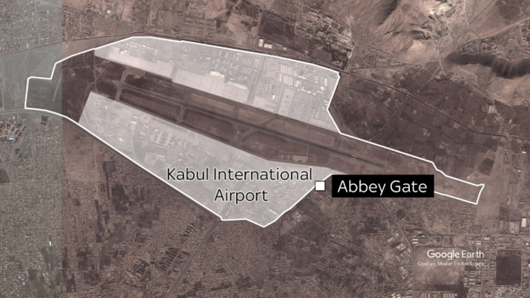 Abbey Gate is one of five entrances to the airfield, where military flights have been evacuating civilians to the West.