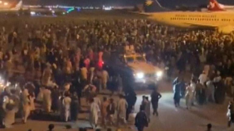 Crowds gather at Kabul Airport amid evacuation