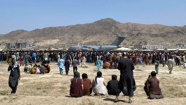 Thousands of people are waiting at Kabul Airport to be evacuated by the UK, US and other countries