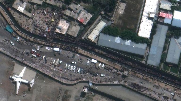 Closeup of crowds near abbey gate_hamid karzai airport_kabul. Pic: MAXAR
