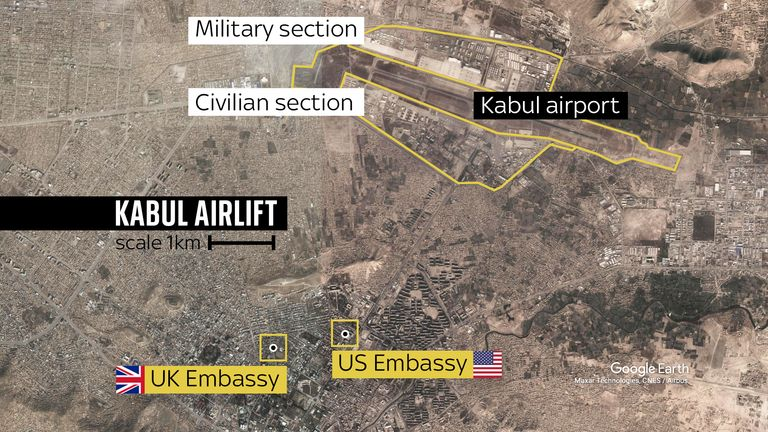 Embassy staff scrambled to the military part of the airport