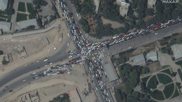 Roads around Kabul became blocked as people rushed to the airport