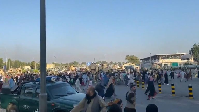 A large crowd was seen running towards the airport terminal this morning. Pic: Jawad Sukhanyar