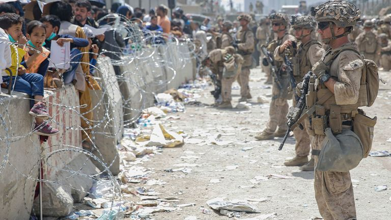 evacuation at Hamid Karzai International Airport in Kabul, Afghanistan. Pic: AP