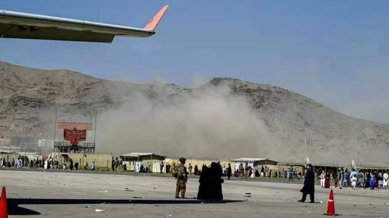 Smoke rising near the blast site at the Kabul airport in Kabul, Afghanistan. Pic: Xinhua/Shutterstock