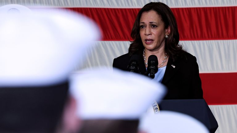 US Vice-President Kamala Harris spoke to military personnel as she visited the USS Tulsa in Singapore