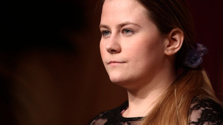 """Austrian kidnap victim Natascha Kampusch poses before receiving the Buchliebling (Book Favourite) award for her book """"3,096 Days"""" during a ceremony in Vienna June 1, 2011. Kampusch's memoirs recount how her captor Wolfgang Priklopil starved her, beat her so badly that she could not lie on her back and forced her to clean his house half naked, calling her his slave. REUTERS/Heinz-Peter Bader (AUSTRIA - Tags: ENTERTAINMENT HEADSHOT SOCIETY)"""