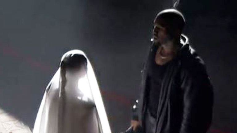 Kanye and Kim Kardashian West recreated their wedding during the music star's latest album event. Pic: Apple Music
