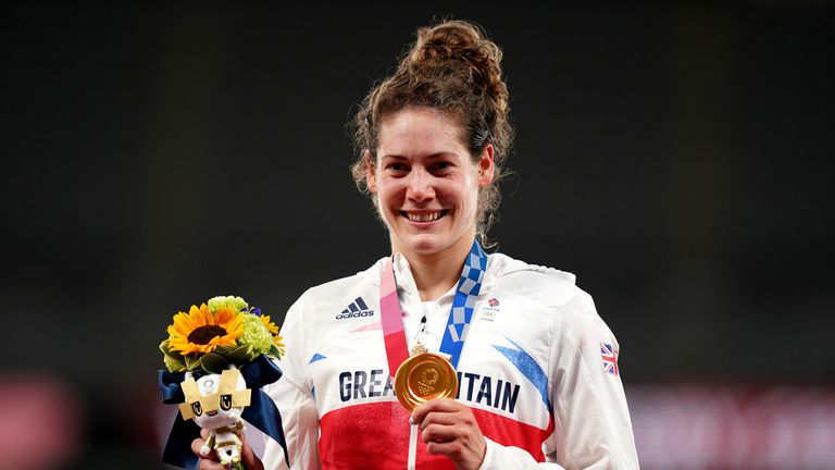 Great Britain's Kate French after winning a gold medal