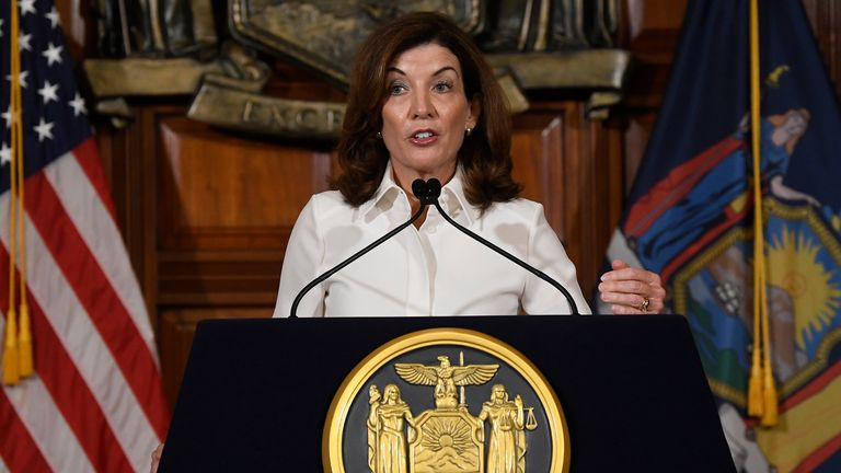 New York Gov. Kathy Hochul speaks to reporters after a ceremonial swearing-in ceremony at the state Capitol, Tuesday, Aug. 24, 2021, in Albany, N.Y. (AP Photo/Hans Pennink)..