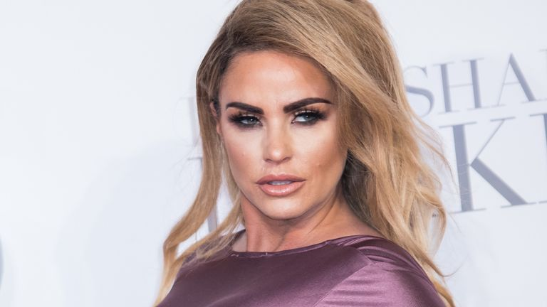 Katie Price at the premiere of Fifty Shades Darker in London in 2017. Pic: Vianney Le Caer/Invision/AP
