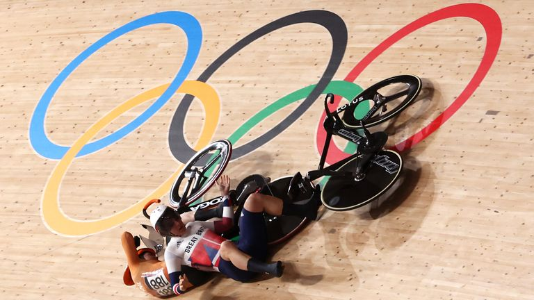 Laurine van Riessen of the Netherlands and Katy Marchant crashed out of the women's keirin quarter-finals