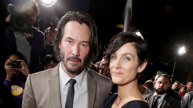 Keanu Reeves and Carrie-Anne Moss will reunite in the film. Pic: Eric Charbonneau/Invision/AP