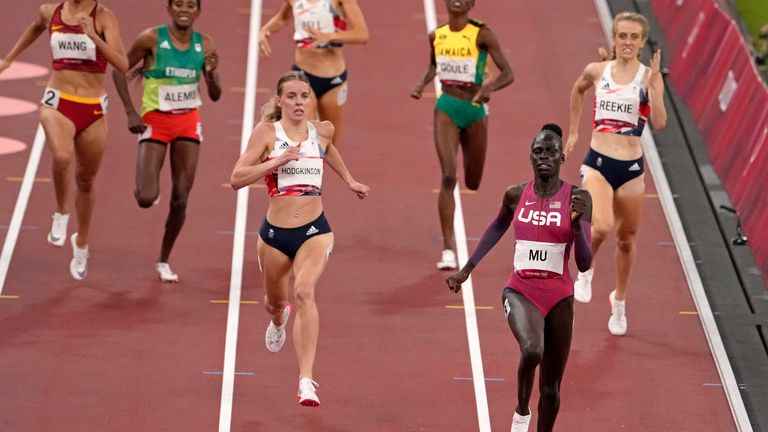 US runner Athing Mu, wins the 800m gold medal ahead of Keely Hodgkinson