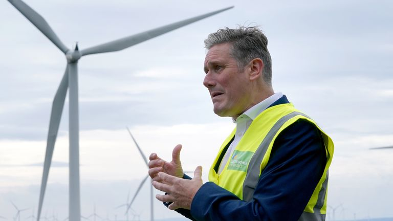Labour leader Sir Keir Starmer during a visit to Whitelees windfarm, Eaglesham, as he continues his visit to Scotland