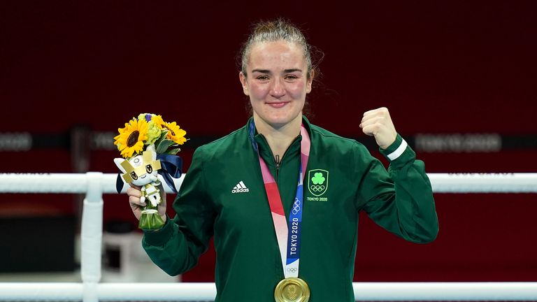 Ireland's Kellie Anne Harrington celebrates with their gold medal after the Women's Light (57-60kg) Final Bout at the Kokugikan Arena on the sixteenth day of the Tokyo 2020 Olympic Games in Japan. Picture date: Sunday August 8, 2021.