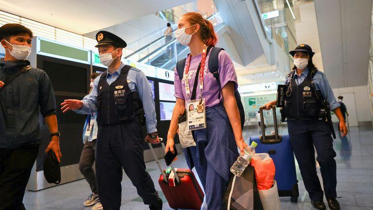 Belarusian athlete Krystsina Tsimanouskaya says she has been taken to Tokyo Airport against her will