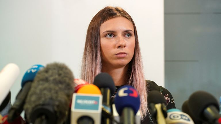 Krystsina Tsimanouskaya held a news conference in Warsaw