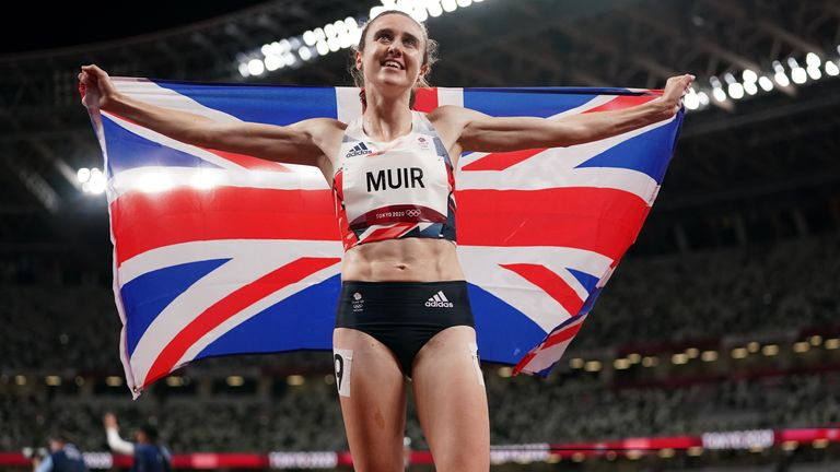 Great Britain's Laura Muir celebrates after winning the silver medal in the women's 1500-metres