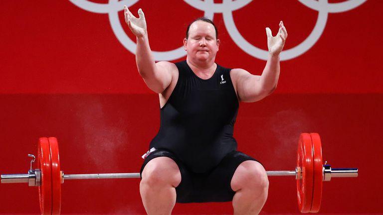 Tokyo 2020 Olympics - Weightlifting - Women's +87kg - Group A - Tokyo International Forum, Tokyo, Japan - August 2, 2021. Laurel Hubbard of New Zealand reacts after failing a lift. REUTERS/Edgard Garrido
