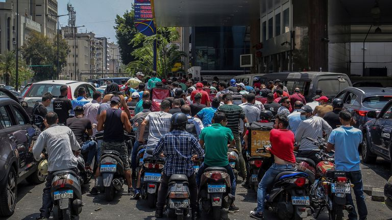 The fuel shortage in Lebanon has worsened with long queues outside petrol stations. Pic PA