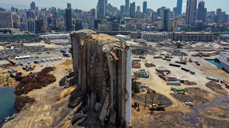 A picture taken with a drone shows a general view of the site of the Aug. 4, 2020 explosion in Beirut's port, after almost a year since the blast, Lebanon August 2, 2021. Picture taken August 2, 2021. REUTERS/Imad Creidi NO ARCHIVES. NO RESALES.