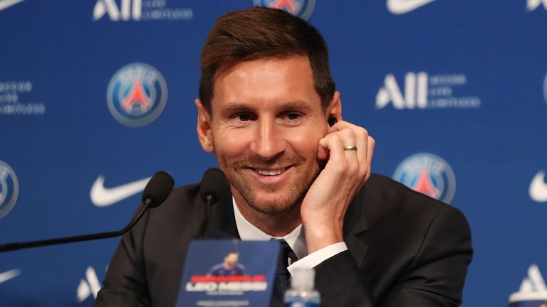Lionel Messi gives his first news conference as a Paris Saint-Germain player
