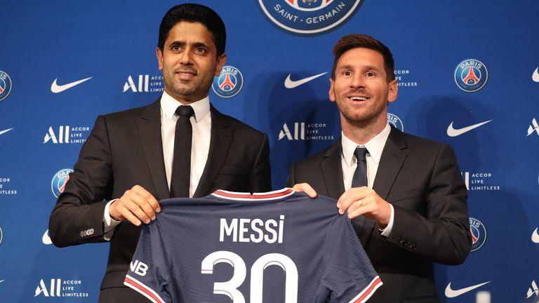 Paris St Germain's president Nasser Al-Khelaifi and Lionel Messi
